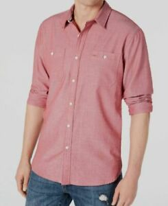 NEW $95 American Rag Men Classic-Fit Red Long-Sleeve Button-Down Shirt Size 2XL