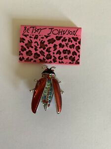 Betsey Johnson Red Crystal Cockroach Insect Charm Rhinestone Brooch Pin-BJ80191