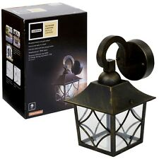 Brushed Black Gold Effect Outdoor Metal Wall Light Garden Outdoor Lantern Lamp