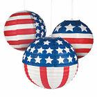 Patriotic Flag Hanging Paper Lanterns - Party Decor - 12 Pieces