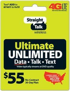 Straight Talk Refill Card 30 Day $55 Prepaid Unlimited Service Plan Phone