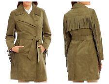 Karl Lagerfeld Women's Vegan Suede Fringe Olive Green Wrap Jacket - Large