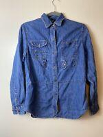 Lauren Jeans Co. Ralph Lauren Womens Size 6 Long Sleeve Cotton Denim Shirt Zips
