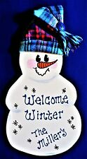 Personalize WELCOME WINTER SNOWMAN Name SIGN Wall Door Hanging Plaque Art Decor