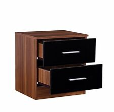 REFLECT 2 Drawer Bedside Table in Gloss Black / Walnut - Bedroom Cabinet