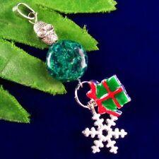 Seraphinite Round Tibetan Sliver Christmas Gift Skull Pendant Bead J06814