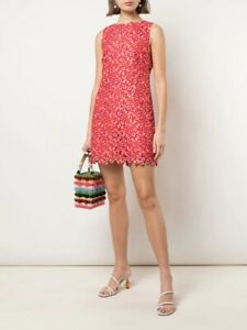 NWT Alice + Olivia Clyde Floral Lace Eyelet Shift Dress, Bright Poppy Red 6 $375