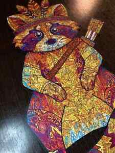 Raccoon Wooden puzzle 40x25 cm STONEFORD, 205 parts DIY jigsaw eco friendly
