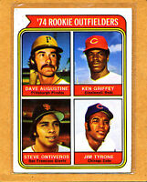 1974 TOPPS #598 ROOKIE OUTFIELDERS/DAVE AUGUSTINE RC/KEN GRIFFEY RC/STEVE ONTIVE