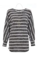 NEW RRP £24.99 Quiz  Grey Stripe Necklace Jumper                          (B14A)