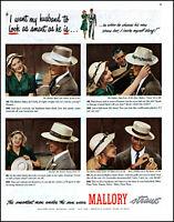 1948 Wife Husband Mallory men's straw hats smart men vintage photo print ad L49