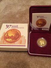 1997 Hong Kong Proof Gold $1000 Dollars Return to China 0.4708 Oz COA Box Rare