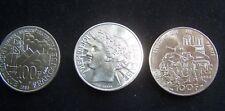 3 X 100 Francs 1985 1988 1994 ARGENT