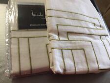 Nicole Miller Argos Green White Greek Key Standard Pillow Shams 20x26 NEW 2