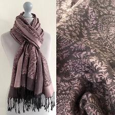 Ladies Pink Grey Paisley Scarf Pashmina Shawl Wrap Floral Long Reversible Cotton