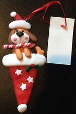 NWT Clay Dough Christmas Puppy Dog Santa Hat Holiday Keepsake Winter Ornament