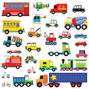 Decowall DW-1205 27 Cars Transports Vehicles Kids Removable Wall Stickers Decal