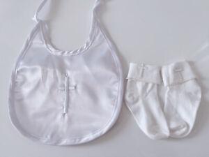 Boy Baby Girl Kids christening shower Embroidery Cross White Satin Bib Or Socks