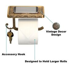 Reversible Toilet Paper Holder w/ Phone Shelf & Hook Bathroom Decoration Bronze