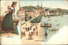 Luzern Lucerne Quai Beautiful Woman Border c1905 Postcard