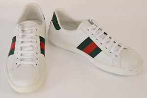 Gucci white 8.5 leather stripe logo low top trainer sneaker UK7.5 shoe NEW $550