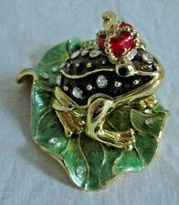 Prince Limoge-style enameled metal box New in Box - Swarovski Frog