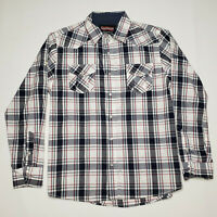 No Retreat Boys Red White Blue Pearl Plaid Long Sleeve Button Up Size X-Large XL