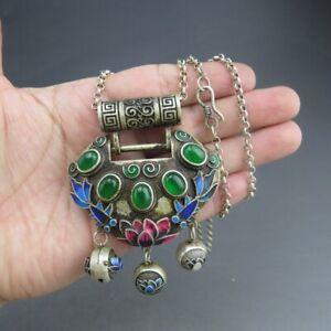 China,jade,pure silver,natural jade,Jadeite,jade,lock,pendant  C(218)