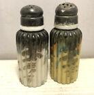 Antique Mt Washington Pairpoint Ribbed Pillar Salt Pepper Shakers Garish Pattern
