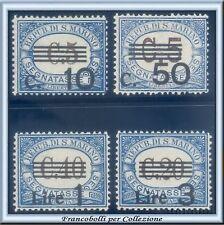 1940 San Marino Segnatasse Serie completa n. 60/63 Centrati Nuovi Integri **