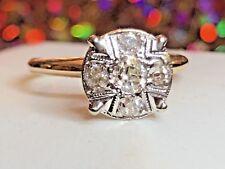 ANTIQUE 14K WHITE GOLD  GENUINE NATURAL DIAMOND ENGAGEMENT RING MILGRAIN DETAIL