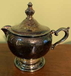 """W M Rogers Silver Co SilverPlated Creamer On Pedestal 3""""Tall Without Lid 3 1/2""""W"""