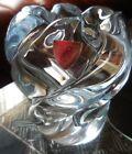 Orrefors Crystal Rose Bud Ice Blue Swirl Shaped Vase, Sweden Art Glass