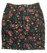 80df0bca9e5c99 VTG ESPRIT Black Floral Print Linen/Cotton Pencil Skirt Sz S (2-4