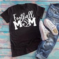 Football Mom Graphic T-Shirt New Funny Women Slogan Mom Life Gift Tee Shirt Top