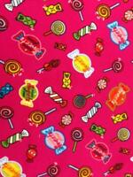 """Baumwolljersey, m Elast. """"Sweets"""" fuchsia-bunt, 150 cm br, ab 0,5 m (€ 10,00/qm)"""