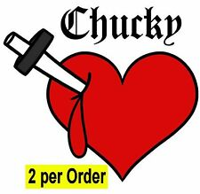 2 Chucky Bride Tiffany bleeding heart boob fancy dress tattoo Halloween transfer