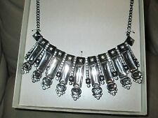 New for Sales -Women's Statement Necklace - Clear/Hematite