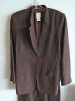 NM Essentials  Brown Pin Stripe Suit  USA  Silk/Linen Blend  4