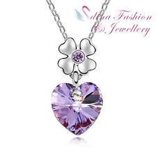18K White Gold Plated Made With Swarovski Crystal Flower Heart Purple Necklace
