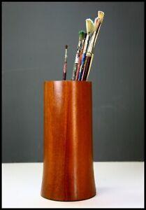 Vintage Teak Vase Wooden Original with Liner 20 cm Mid Century