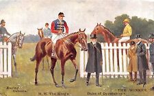 POSTCARD   SPORT  HORSES  Racing   Colours  HM  The  King  &  Duke of Devonshire