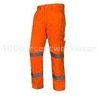 Aqua Orange Rail High Visibility Mens Work Cargo Trousers Pants GO RT Hi Viz Vis