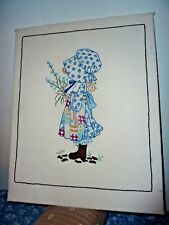 Large Vintage Holly Hobbie Pattern Calico Girl Completed embroidery Needlework