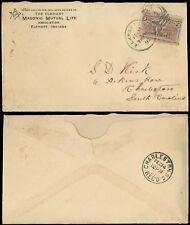 FEB 11, 1893 ELKHART IND Cds, MASONIC MUTUAL LIFE INS C/C To Charleston SC, #231