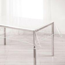 """Paris Prix - Nappe Cristal """"garden"""" 140x240cm Transparent & Blanc"""