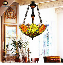 Makenier Vintage Tiffany Style Stained Glass Rose Inverted Ceiling Light Fixture