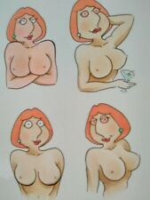 Lois Griffin SEXY 4 Card SET comic art cartoon LOT drawing ACEO hot pinup
