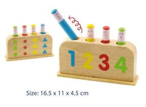 NEW Wooden POP UP TOY Matching Colour Learn Numbers Shapes Educational Toy