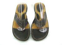 Born Brown Sandals Shoes Sz 7 M / W Flip Flop Thongs Flats Slides Leather Womens